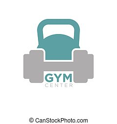 Heavy dumbbell and big kettlebell isolated on white...