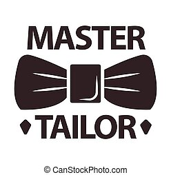 Master tailor logotype with man butterfly tie on white -...