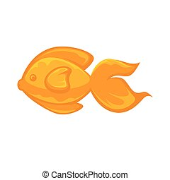 Goldfish animal sign in flat design isolated on white. Close...
