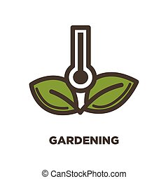 Gardening logo design with thermometer and two green leaves...