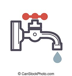 Water dripping tap with water drop flat design isolated on...