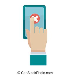 Man cancel order by finger on smartphone screen isolated on...