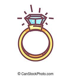 Luxury ring with big blue gemstone isolated on white...