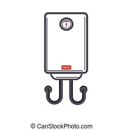 Electric water heater or boiler cartoon style on white...