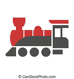 Old style steam engine locomotive icon isolated on white. -...