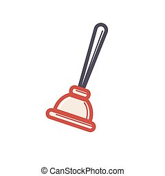 Toilet rubber plunger red cup on white background. Vector...