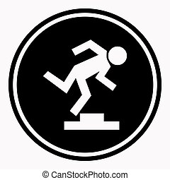 Warning logo sign with stumbling person because of doorstep....