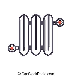 Radiator of three sections with two red valves on white...