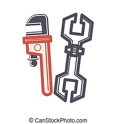 Two adjustable wrenches in cartoon style flat isolated on...