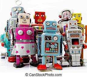 robots - retro robot toy group
