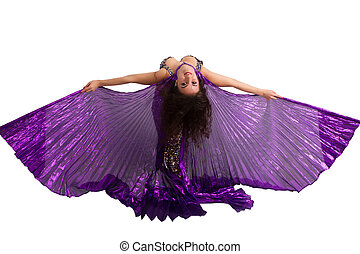 Dancer in a silver suit with purple wings isolated on white...