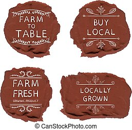 Farming icons on sealing wax background. - Farming icons on...