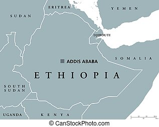 Ethiopia political map with capital Addis Ababa and borders....