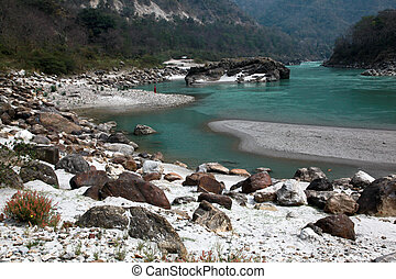 Ganga near Rishikesh - Clear blue Ganga in The Himalaya...