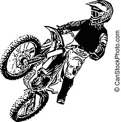 Extreme abstract motocross racer by motorcycle - abstract...