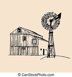 Vector illustration of traditional farm barn with windmill in sketched style. Organic bio products poster. Eco food sign