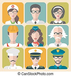 Vector set of different professions man and woman icons in trendy flat style.