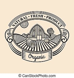 Vector retro farm fresh engraving logotype. Vintage organic bio products badge. Eco food sign.