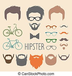 Big vector set of dress up constructor with different men hipster haircuts, glasses, beard,mustache,bikes in tflat style