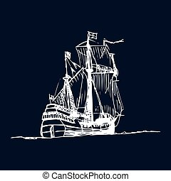 Sailing galleon ship in the ocean in ink line style. Vector...