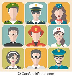 Vector set of different professions man and woman app icons in trendy flat style.