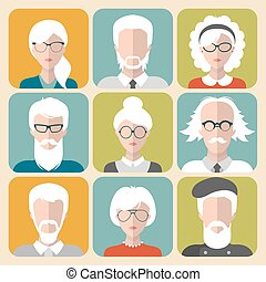 Vector set of different old man and woman with gray hair app...