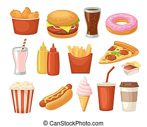 Set fast food icon. Cup cola, hamburger, pizza fried chicken...