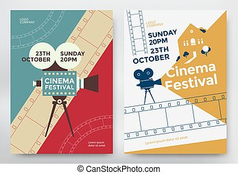 Cinema festival poster template with camcorder and line...