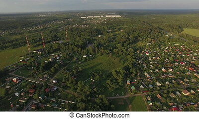 Flying over dacha communities in Russia - Aerial shot of...