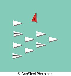Red airplane changing direction and white ones. New idea,...