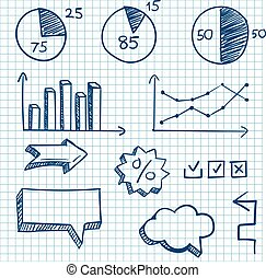 Hand-drawn finance elements. Arrows and graphcs. Vector...