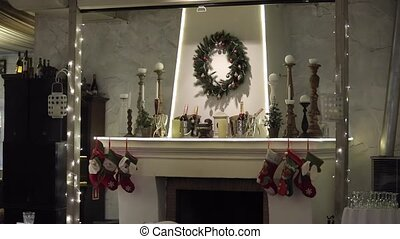 Fireplace with christmas decoration - Fireplace with...