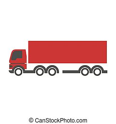 Red lorry icon in flat design isolated on white. Close up...