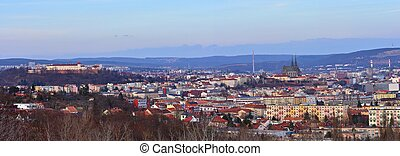 The city of Brno, Czech Republic-Europe. Top view of the...