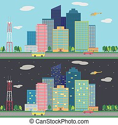 Vector day and night city