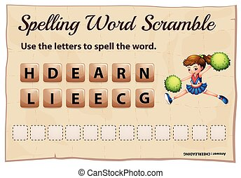 Spelling word scramble game with word cheerleading...