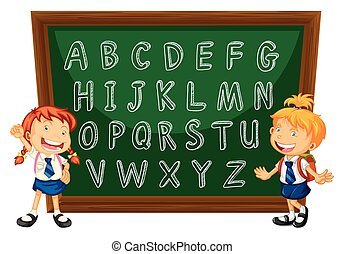 English alphabets on greenboard illustration