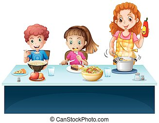 Mother and kids having meal at dining table illustration