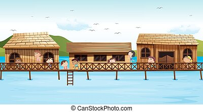 Children playing on the balcony illustration