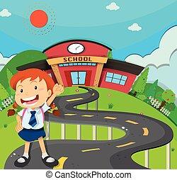 Girl going to school illustration