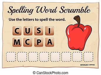 Spelling word scramble game with word capsicum illustration