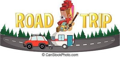 Font design for word road trip illustration
