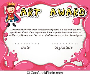 Art award certificate with boy as hero illustration