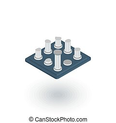 architecture History, ruins isometric flat icon. 3d vector...