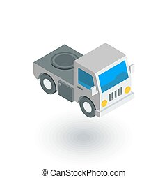 truck cab, van body isometric flat icon. 3d vector colorful...
