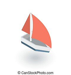 sailing ship isometric flat icon. 3d vector