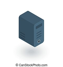 computer system unit, bloc isometric flat icon. 3d vector...