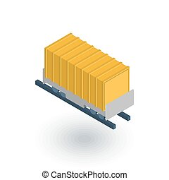 Railway container, wagon load isometric flat icon. 3d vector...