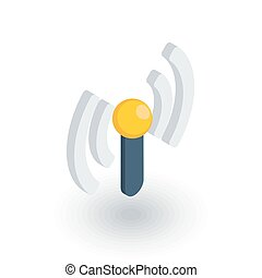 access point, wi-fi signal, antenna isometric flat icon. 3d vector