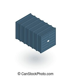 cargo container isometric flat icon. 3d vector colorful...